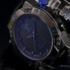 SHARK Men's Blue Leather LED Digital Date Quartz Sport Fashion Army Wrist Watch