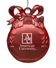 American University  - Pewter Christmas Tree Ornament - Red