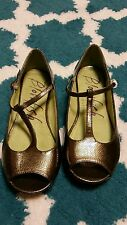 Blowfish Women Sage Green/ Goldish Peep toe Mary Janes Ballet Flats Size 9 shoe