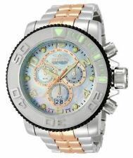New Invicta 13686 58mm Sea Hunter Swiss Made Chronograph MOP Dial Two Tone Watch