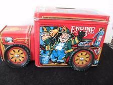 Collectible Little Red Fire Truck Tin Fire Engine No. 5 Tin Bank