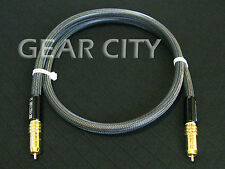 coa30 1m 3ft Digital Coaxial Silver Cable Audio Video AV RCA Plug Subwoofer HiFi