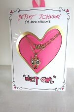 Genuine Betsey Johnson Gifting Night Owl Cubic Two Row Necklace New On Card