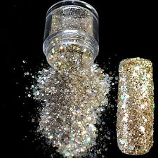 UV Nail Art Glitter Powder Light Gold Mix Size Nail Glitter Dazzling Design N286