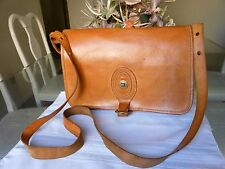 BREE Brown Leather Satchel Saddle Messenger Shoulder Bag