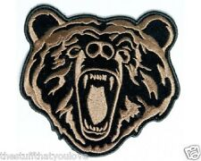 "(D5) Small BROWN BEAR 4"" x 4"" sew / iron on patch (3567) Biker vest cap hat"