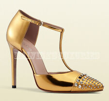 GUCCI SHOES COLINE STUDDED GOLD LEATHER T-STRAP PUMPS IT 39 US 9