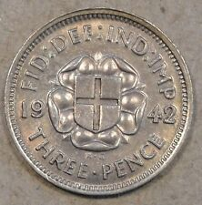 Great Britain 1942 Silver 3 Pence Toned Unc