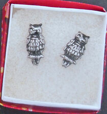 Peruvian OXIDIZED STERLING SILVER OWL STUD EARRINGS (ESS20)