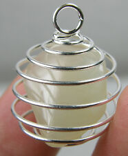 India 100% Natural Tumbled Rough Moonstone Crystal In Spiral Cage Pendant