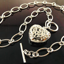 A944 GENUINE REAL 925 STERLING SILVER S/F SOLID LADIES HEART TBAR NECKLACE CHAIN