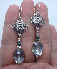 Lovely Faceted Smoky Quartz W. Black South Seashell Pearls SS Earrings A1019