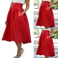 Vintage Women's Elastic High Waist Full Skirt Cocktail Party Long Skirts Flared