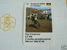 23 MOTO-CROSS 7B DDR/SWEDEN PAUL FRIEDRICHS CZ 400 KWARTET KAART, QUARTETT CARD,