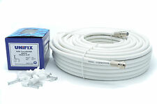 2M Meter White RG6 Satellite Freesat Coax Cable Lead 4 Sky Plus HD TV Coaxial