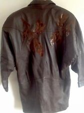 VINTAGE 80s AVANT GARDE BROWN LEATHER SUEDE BATWING OVERSIZED JACKET SIZE 14