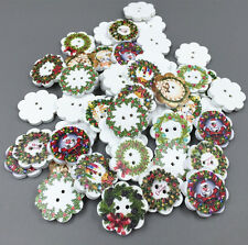 50pcs Christmas wreath Shape Sewing Wooden Buttons Scrapbooking crafts 20mm