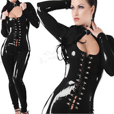 Catwoman PVC Leather Zipper Wetlook Jumpsuit Catsuit Open Bust Clubwear Lingerie