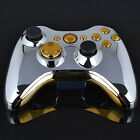 Chrome Silver modded Full Shell Gold Buttons for Xbox 360 Wireless Controller KN