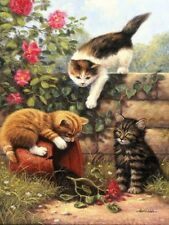 THREE KITTENS PLAYING WITH FLOWERPOT & ROSES A4 PAINTING PAINT BY NUMBERS PJS52