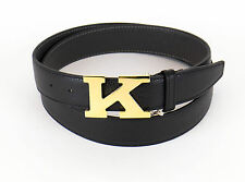 NIB KITON NAPOLI Black Pebbled Leather Gold K Buckle Belt Size 48 US 120 EU $995