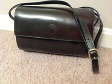 GINNIE JOHANSEN Purse, cylinder shape, dark green leather, made in Italy, EUC