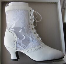 nwb LILIA SMITH ankle leather/lace up BOOT Wedding Western Victorian Granny 7.5