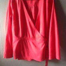 Monsoon Red 100% Cotton Kimono Shirt size 22
