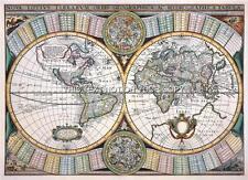 Mappa Decorativa, Antica, Doppio Emisfero, Vecchio 1643