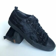 Hugo Boss Orange Shoes Womens Size 8 Eur 39 All Black Leather Fashion Sneakers