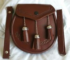 3 Tassels Scottish Kilt Sporran, Fine Quality Brown Cowhide Real Leather + Belt