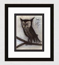 "1967 ORIGINAL Bernard BUFFET Color Lithograph ""Little Owl"" SIGNED Framed COA"