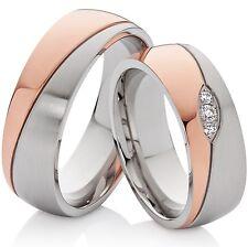 2 Anelli Fedi Nuziali Anello di fidanzamento oro rosa & argento & 3 Zirconia