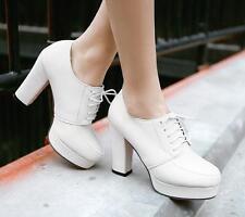 Chic Women's Ladies Lace Up Platform Block High Heel Pumps Court Shoes Plus Size