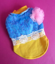 XS X SMALL YELLOW BLUE DOG JUMPER TOP CHIHUAHUA MALTESE PUPPY YORKIE 20CM