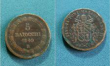 Pio IX - 5 Baiocchi -Anno 1849- Zecca di Roma (RARA)