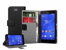 Wallet BLACK Leather Flip Case Cover Pouch For Sony Xperia Z3 COMPACT experia