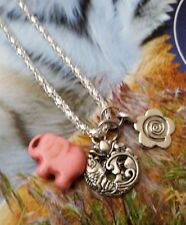 Karma Lotus Flower Fish Daisy Spiral PINK Turquoise Elephant Necklace