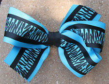 Personalized Embroidered Turquoise and Black Zebra Print Hair Bow for Girl's
