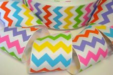 2 1/4 CHEVRON ZIG ZAG STRIPE MULTI BRIGHT GROSGRAIN RIBBON 4 HAIRBOW BOW RAINBOW