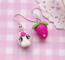 """Silly Strawberry"" Kawaii Kitsch Clay Costume Drop Dangle Earrings - UK SELLER!"