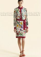 GUCCI Iconic FLORA 42 Silk Crepe RASPBERRY trim belted dress NWT Authentic $1395