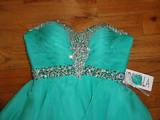 AMAZING   CINDERELLA STRAPLESS BEADED TEAL GREEN HOMECOMING DRESS 4 W/ SHAWL