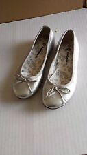 John Lewis shiny silver ballerina pump / flat shoes. UK 5 Junior New. RRP £22