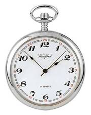 Woodford Chrome Plated Mechanical Open Face Pocket Watch. ref 1023