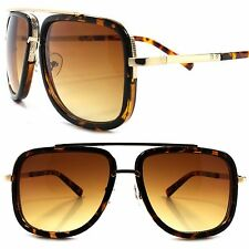 Designer Upscale Look Rich Famous Hip Hop Mens Square Tortoise & Gold Sunglasses