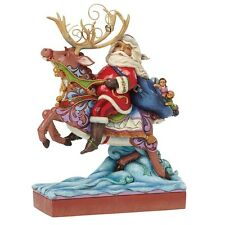 Jim Shore Heartwood Creek Next Stop Santa Riding Reindeer Christmas  Ornament
