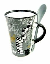 GREY Cappuccino PIANO Mug & Spoon Keyboard Player Coffee Cup Present Music Gift
