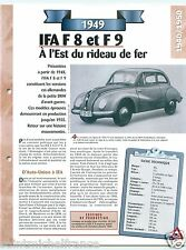 IFA F8 & F9 (DKW)  3 Cyl. 1949 RDA Germany Car Auto Retro FICHE FRANCE