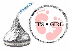 108 IT'S A GIRL BABY SHOWER FAVORS HERSHEY KISS KISSES LABELS